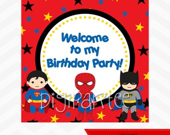 INSTANT DOWNLOAD - Superhero Welcome Sign