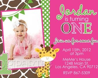 Girls Giraffe Birthday Party Invitation