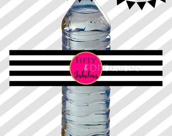 50 and Fabulous Water Bottle Wrappers Labels - Black White Stripes Hot Pink Gold - 50th Birthday - INSTANT DOWNLOAD