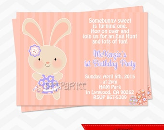 Easter Bunny Rabbit Birthday Invitations