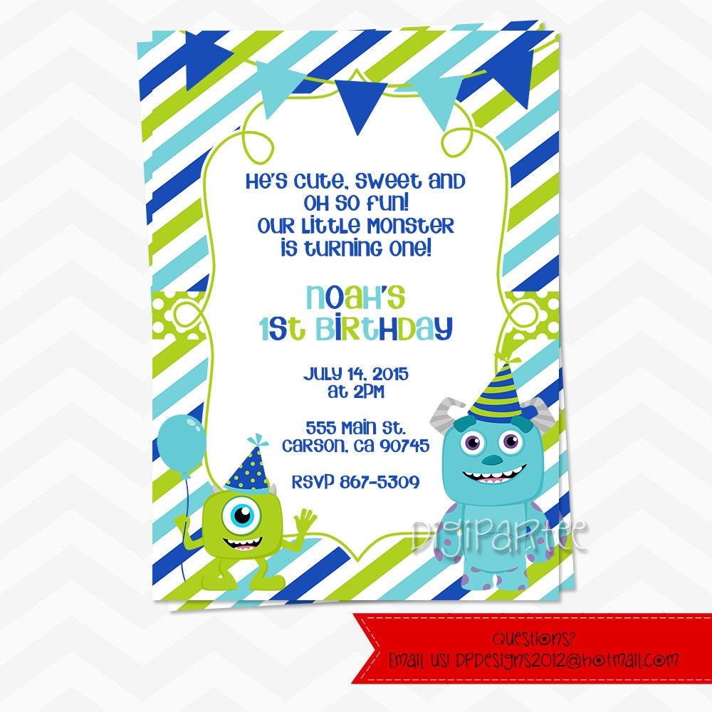 Monsters Inc 1st Birthday Invitation | Etsy