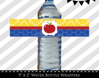 Snow White Inspired Water Bottle Wrappers - INSTANT DOWNLOAD