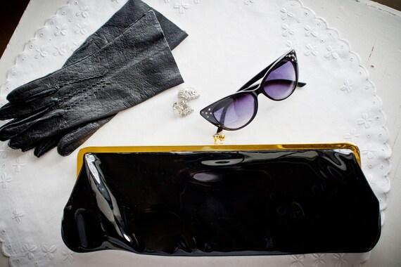 Sleek, Vintage  Black Patent Leather Clutch -Beaut