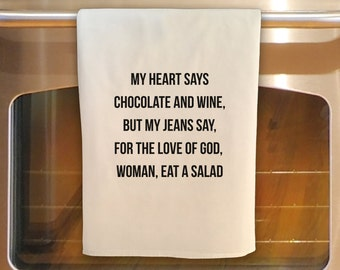 Flour Sack Tea Towel - CHOCOLATE AND WINE: Kitchen Towel