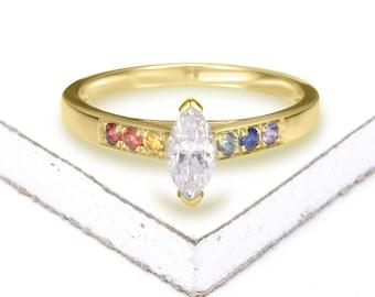 Same Sex Wedding Marquise Cut Dainty Cz Ring Lesbian Ring Etsy