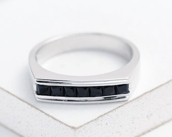LGBT Engagement Ring Wedding Band Seattle at Night Ring in 925 Sterling Silver R2057-925-Blk Unisex Unique Natural Gemstone SKU