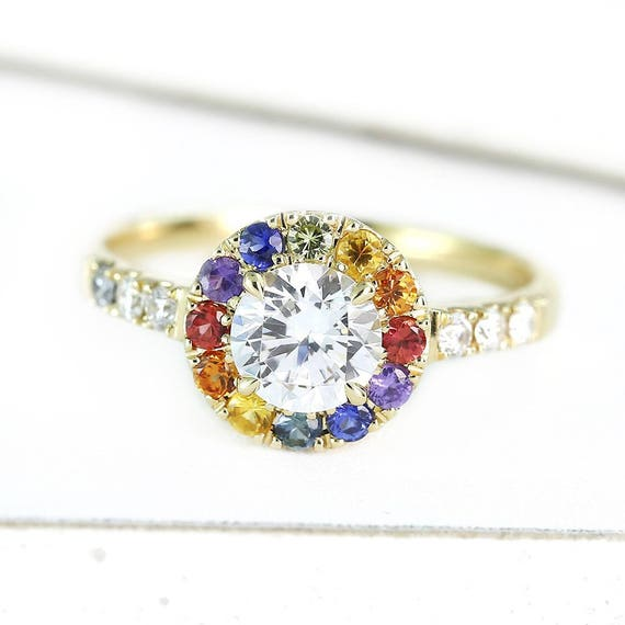 Diamond Rainbow Sapphire Flower Ring Lgbt Relationship Ring Etsy
