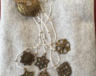 Old Brass Chimes, Repurposed Chimes, Escutcheon Chimes, Medallions, Repurposed Drawer Pull Chimes, Hardware Chimes, Folk Art, Beaded Chimes