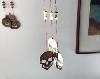 halloween decor skull chimes halloween wind chimes hanging chimes human skull rusty metal chimes rusty metal skull creepy decor bone