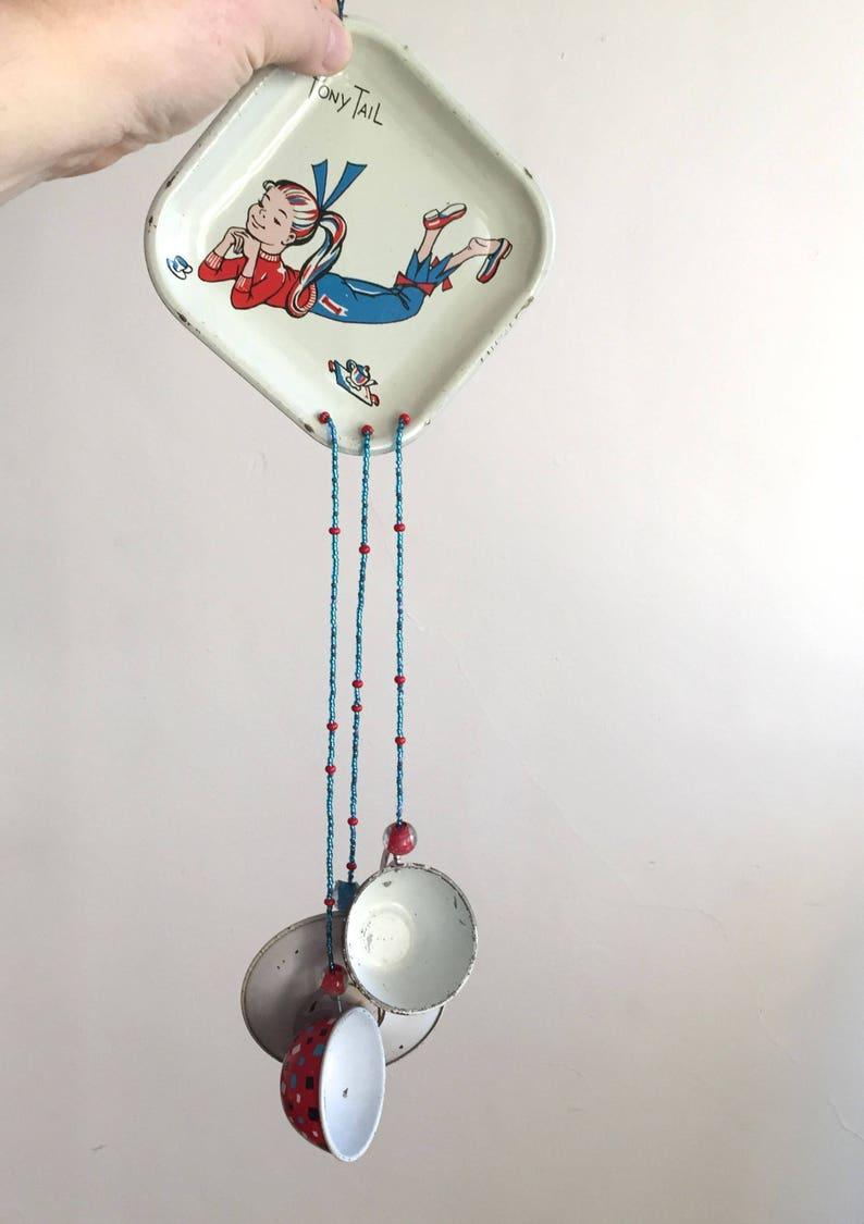 Vintage Tin Toy Repurposed Wind Chimes Retro Teen Wind Chimes Ponytail Teen Shabby Chic Wind Chimes MidCentury Decor Toy Teaset Chimes