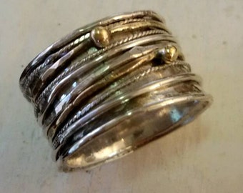 Spinner ring, meditation ring, wide band rind, yoga ring, mix metal ring
