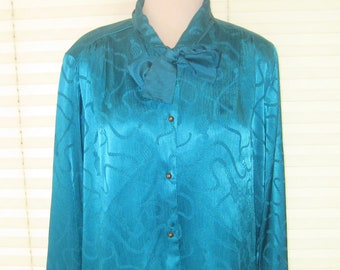 Vtg 80s Multi Color Swirling Wavy Sequin Silver Metallic Top Blouse XL Excellent Condition Joanna Label Glam Cocktail