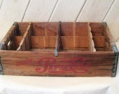 Antique Pepsi Cola wood crate, soda pop crate, rustic primitive, mid century, collectible solid wood crate, wall shelf for miniatures, 50s