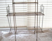 Metal shelves, wrought iron wire plant shelves stand, rustic industrial metal music room shelves, 3 tiered shelves