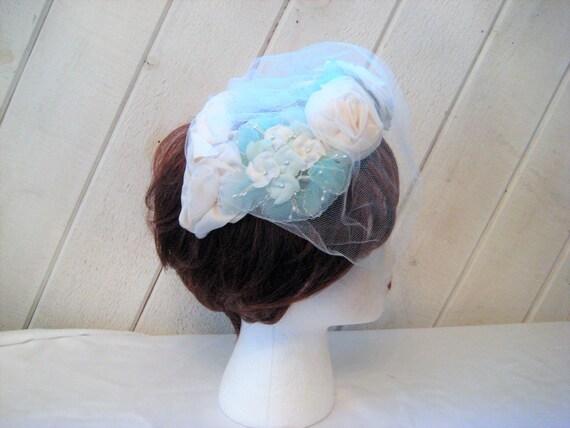 Blue white mini hat, floral Hat, veil hat, formal… - image 1