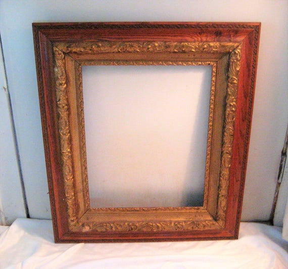 Large antique wood frame, decorative frame, ornate frame, dark wood ...