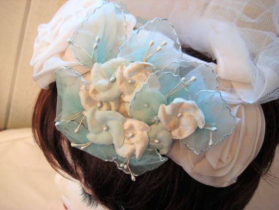 Blue white mini hat, floral Hat, veil hat, formal… - image 4