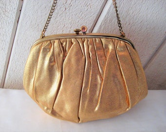 Gold clutch with chain handle, evening bag, formal gold purse, Ingber handbag, gold fabric clutch, 1960s, made in USA