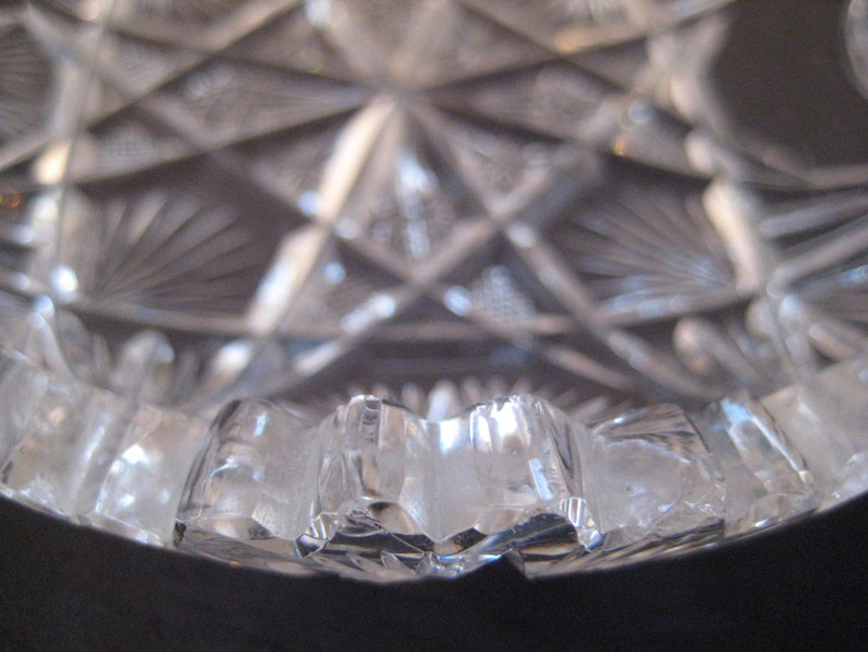 Depression Glass Candy Dish depression glass bowl carrying handle heavy leaded glass Cut Glass Crystal  Bowl saw tooth rim