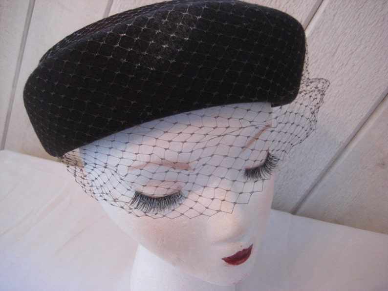 Brown wool pill box hat Henry Pollack mid century wool hat funeral hat formal hat net veiled hat Church Sunday hat grieving hat