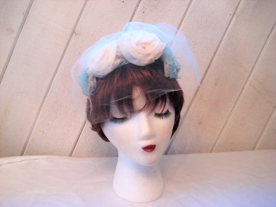 Blue white mini hat, floral Hat, veil hat, formal… - image 2