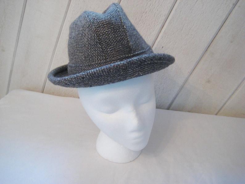64abd5d60f6ed Vintage wool gray tweed mens hat fedora hat thinsulate ear