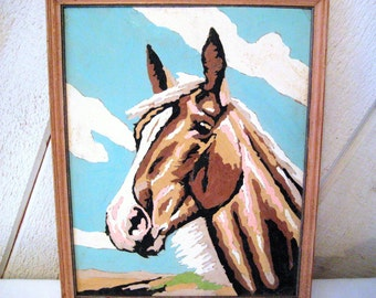 Paint by numbers horse painting, picture, equine painting, horse oil painting, 8 x 10 inches, framed oil painting