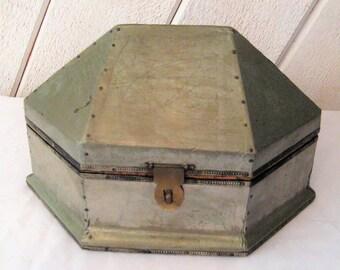 Hexagon box, hinged lid, six sided box, metal wood box, Star Trek box, 1970s, pyramid box, steampunk, gothic decor, coffin box