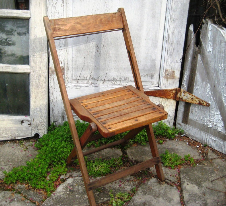Pair Of Wood Folding Chair, Wood Slat Chair, Two Vintage Chairs, Farmhouse,  Country Kitchen Chairs