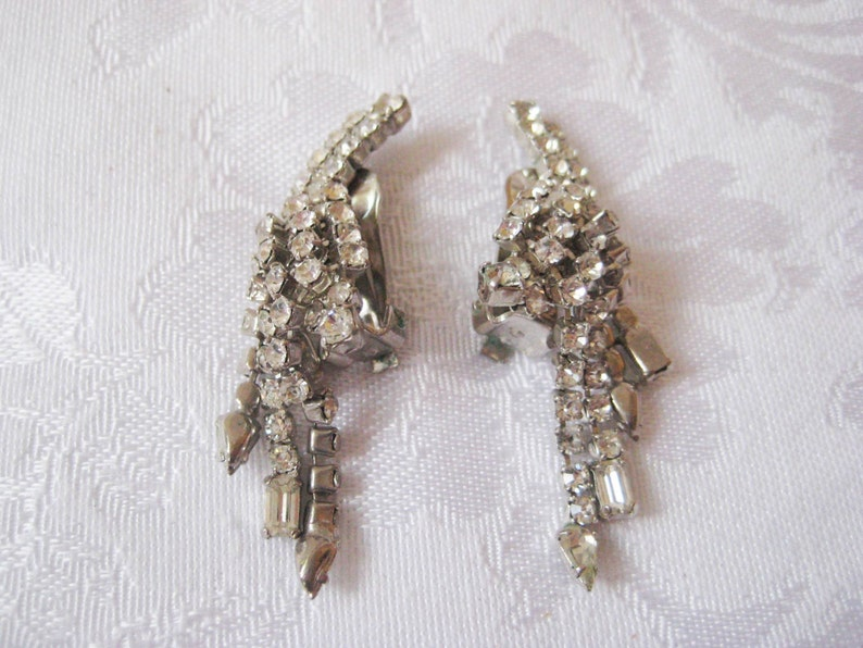Sparkly dangling rhinestone earrings clip on formal dress up image 0