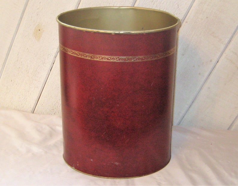 Burgundy red metal trash can, gold trim, office, bedroom waste can, mid  century, 1960s, small trash can, man cave decor, masculine