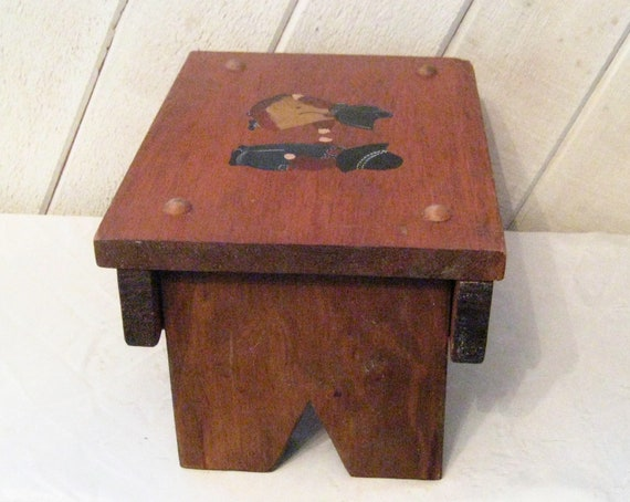 Wondrous Wooden Petite Foot Stool Amish Boy Girl Wood Step Stool Natural Brown Wood Blue Jean Hand Painted Children Sturdy Kids Farmhouse Stool Squirreltailoven Fun Painted Chair Ideas Images Squirreltailovenorg