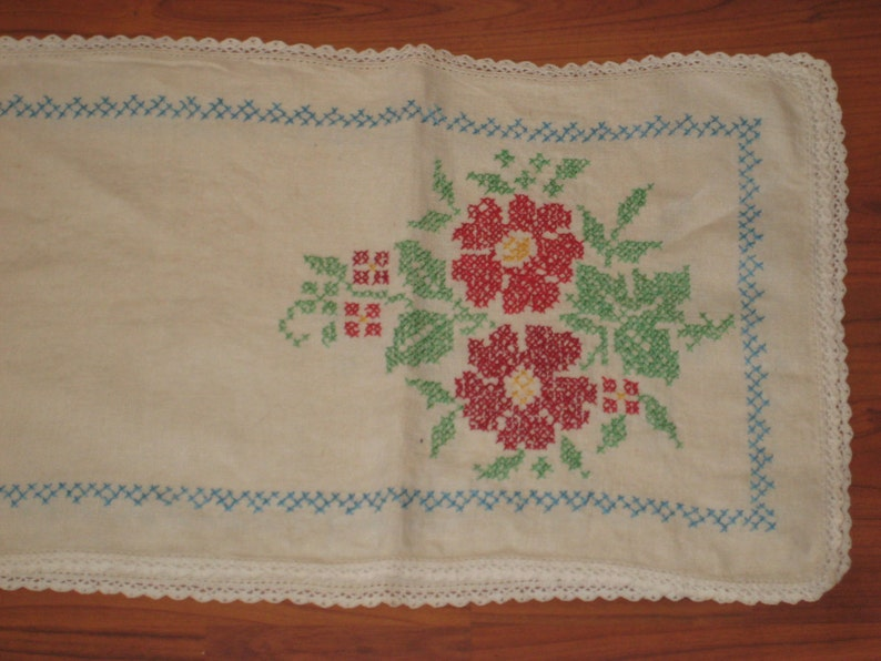 sale Cross stitched table runner country cottage chic dresser  runner shabby