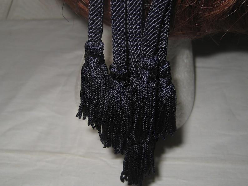 decorative ornate black cord medallion tassel mid century 1950s Vintage dark burgundy velvet beret size 22 everyday hat made in USA