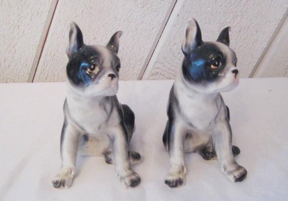 Casa De Muñecas En Miniatura De Cerámica Negro Y Blanco Terrier Perro