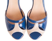 Romance Charol Blue - Sandals in blue and nude leather by Quiero June. Handmade in Argentina - Free shipping