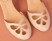 Nude Pie - Sandals in nude leather, for woman or a bride. Handmade in Argentina