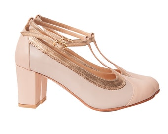 dbf43420d Ona Bride (high heel) Leather vintage style t-strap woman shoes. Gold