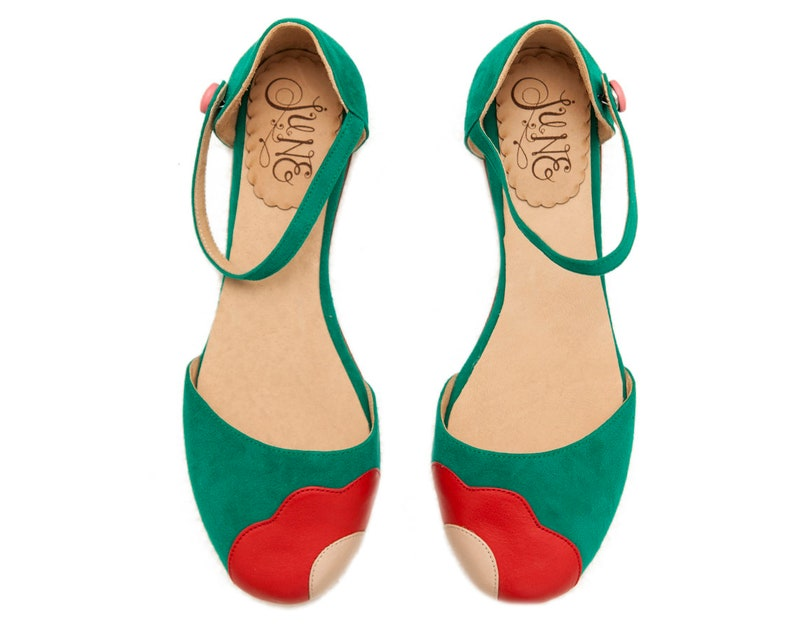 Retro Vintage Flats and Low Heel Shoes Lorna Green. Green suede woman shoes. To dance lindy hop swing or wear. Made in Argentina $208.00 AT vintagedancer.com