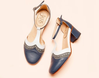 Handmade blue, white and gray leather women shoes. T-strap, Mary Jane medium heel, ankle strap. Handcrafted in Argentina. Ivy Red