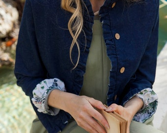 Denim jacket. Jean Blue women jacket. Denim style, interior green print design. Handmade in Argentina - Lena Jacket Blue