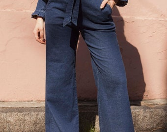 Retro vintage denim pant. Blue women jeans. Denim style, palazzo wide-leg. Handmade in Argentina - Margot Denim