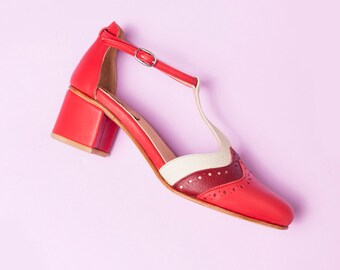 Handmade red, bordeaux and natural leather women shoes. T-strap, Mary Jane medium heel, ankle strap. Handcrafted in Argentina. Ivy Red