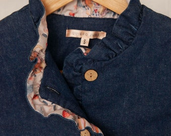Denim jacket. Jean Blue women jacket. Denim style, interior pink print design. Handmade in Argentina - Lena Jacket Blue