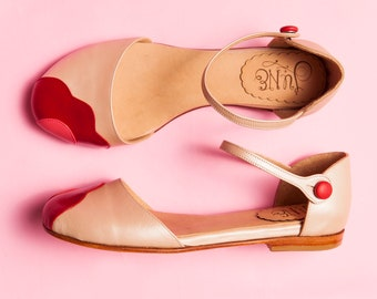 Lorna Nude. Perl nude leather t-strap woman shoes. To dance lindy hop, swing or wear. Made in Argentina