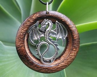 Dragon Pendant in Burnt Oak, dragon necklace, dragon, mythological jewelry, reclaimed burnt oak,rustic jewelry