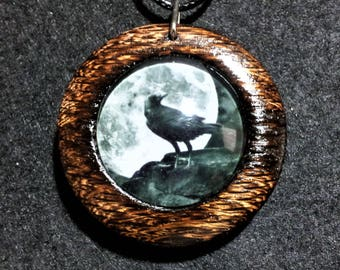 Raven and Moon Necklace in Burnt Oak with free shipping worldwide ~ Raven Jewelry, Raven pendant, Raven and Moon Necklace, Reclaimed Oak