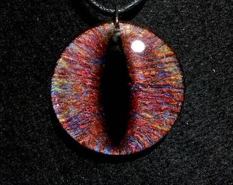 Dragon Eye Necklace in Multicoloured Layers of Resin + Free Shipping Worldwide, eye jewelry, eye necklace,unique dragon eye necklace