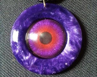 Eye Pendant in Purple Pearl Resin + Free Shipping Worldwide, eye jewelry, eye necklace, unique jewelry