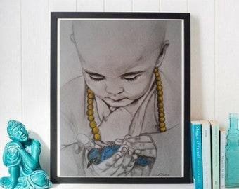 Monk Child and Bird Print, Buddhist Decor, Spiritual Art, Inspirational, Nursery Prints, Nursery Decor, Spiritual Art Print, Children's room